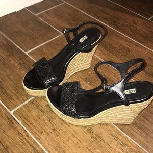 Ugg black wedge espadrille sandals